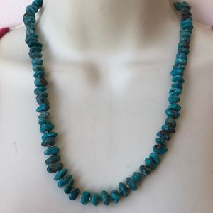 """Vintage Turquoise necklace 20"""" sterling clasp"""